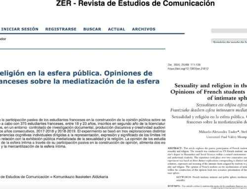 Sexuality and religion in the public sphere. Opinions of French students on mediatization of intimate sphere